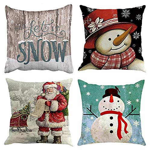 Emvency Set of 4 Throw Pillow Covers Christmas Snowman Santa Claus Let It Snow Holiday Winter Printing Decorative Pillow Cases Home Decor Square 20x20 Inches Pillowcases