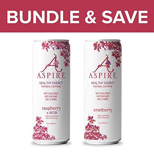 ASPIRE Healthy Energy Drink - 24 Pack Bundle - Raspberry Acai, Cranberry - Zero Sugar, Calories or Carbs – Contains Natural Caffeine, Vitamins B & C - No Jitters or Crash – 12oz Cans