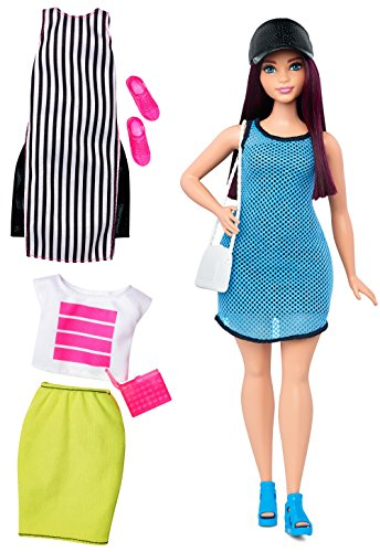 Barbie Fashionista Curvy Dark-Haired Barbie Doll with 2 Additional Outfits