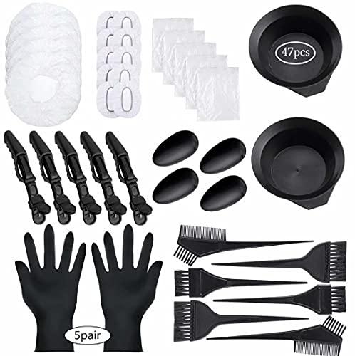 47 Pieces Hair Dye Coloring Kit Hair Tinting Bowl Dye Brush, Ear Cover, Gloves for Hair Coloring Bleaching Hair Dryers DIY Salon Hair Dye Tools Hair Dye Tools