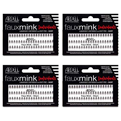 Ardell False Eye Lashes Faux Mink Individuals Short Black 4 Pack