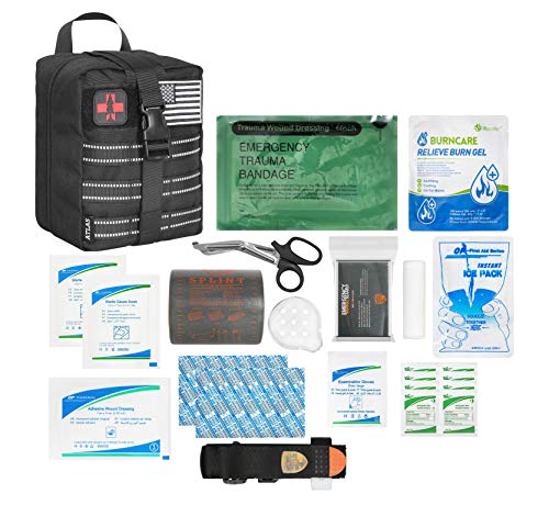 Atlas Survival Emergency Trauma Kit, Multi-Purpose SOS IFAK Everyday Carry for Wilderness, Trip, Cars, Hiking, Camping, Father's Day Birthday Graduation Gift for Him Men Husband Dad Boyfriend and More