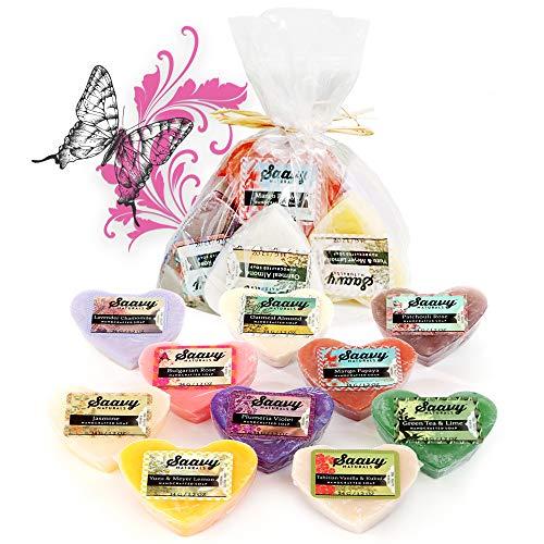 Saavy Naturals Organic Soap Bar Set Heart Shape 10 Pack 1.2oz