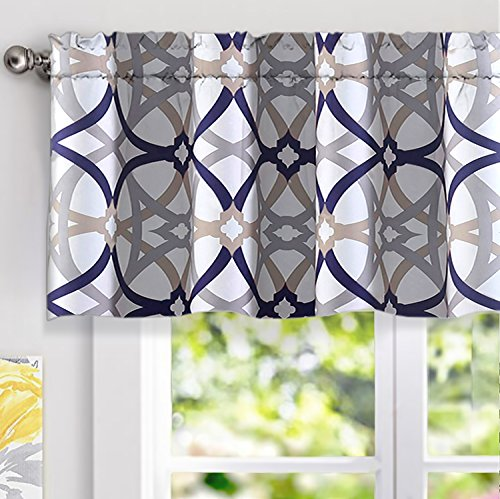 DriftAway Alexander Spiral Geo Trellis Pattern Window Curtain Valance Rod Pocket 52 Inch by 18 Inch Plus 2 Inch Header Navy and Gray 1 Pack