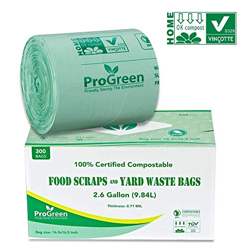 ProGreen 100% Compostable Bags 2.6 Gallon, 300 Count, Extra Thick 0.71 Mil, Small Compost Kitchen Trash Bags, Food Scraps Yard Waste Bags, Compost ASTM D6400 BPI and TUV Austria Certified