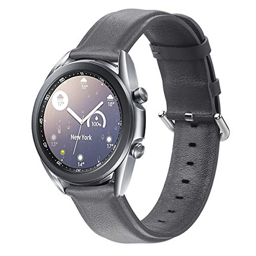 Compatible with Samsung Galaxy Watch3 41mm Bands/Garmin Vivoactive 3 Band ,20mm Leather Women Men Galaxy Watch Active 2 Band 40mm 44mm/Galaxy Watch 3 41mm/Replacement (Grey, Small)