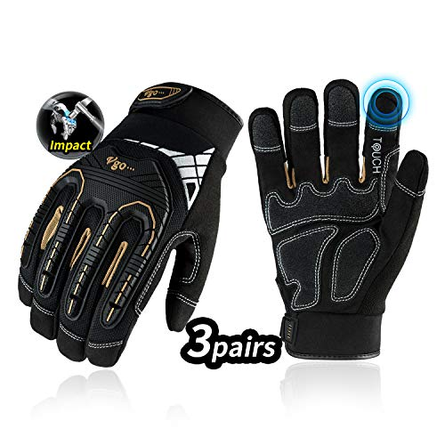 Vgo 3-Pairs High Dexterity Heavy Duty Mechanic Glove, Rigger Glove, Anti-vibration, Anti-abrasion, Touchscreen (Size L, Black, SL8849)