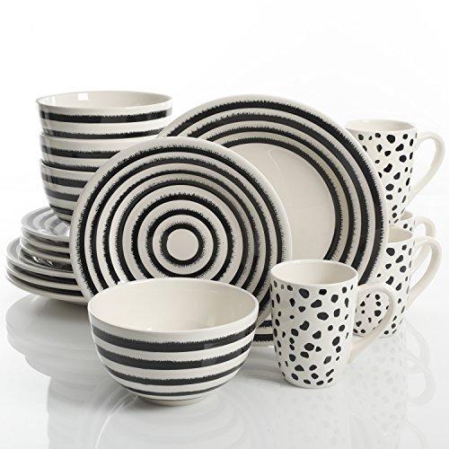 Laurie Gates Naivete 16 Piece Dinnerware Set, Black Stripes