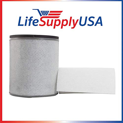 LifeSupplyUSA Replacement HEPA Filter Compatible with Austin Air FR200 FR250 Health Mate Junior HM200, HM 200, HM-200 HM-205 HM-250 Air Purifiers (Pre-Filter Included)