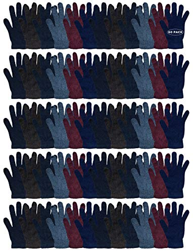 Wholesale Bulk Winter Magic Gloves Warm Brushed Interior, Stretchy Assorted Mens Womens
