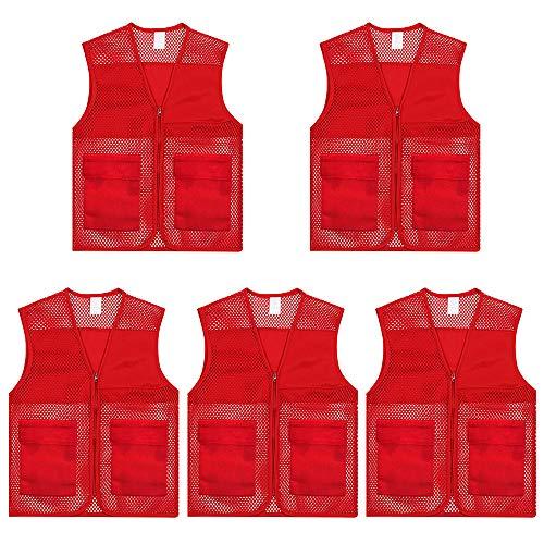 TOPTIE Adult Mesh Volunteer Vest Activity Team Supermarket Vest with Pocket(5 Packs)-Red-XL