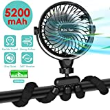 Portable Handheld Fan, 5200mAh Battery Powered Clip-on Personal Desk Baby Fan Air Circulator Fan with Flexible Tripod, Quiet 4 Speeds 360° Rotatable USB Fan for Stroller/Bike/Camping/BBQ/Gym (Black)