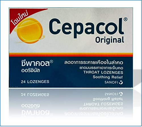 Cepacol #1 Doctor Recommended OTC Sore Throat Lozenge in The U.S. (24 Lozenges) Contain Cetylpyridinium Cl 1.33 Mg and Benzyl Alcohol 6 Mg Effective for Sore, Irritated Throat & Mouth Infections