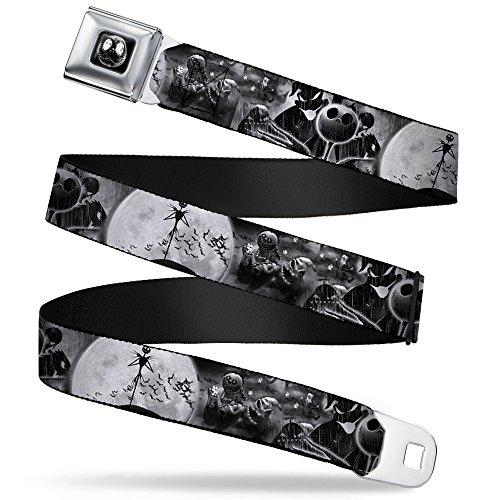 Buckle-Down Seatbelt Belt - Jack & Oogie Boogie Scenes Grays - 1.0' Wide - 20-36 Inches in Length