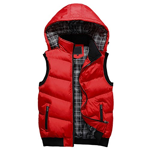 Unisex Stand Collar with Removable Hood Padded Quilted Vest Red US Size XS(Tag Size M)