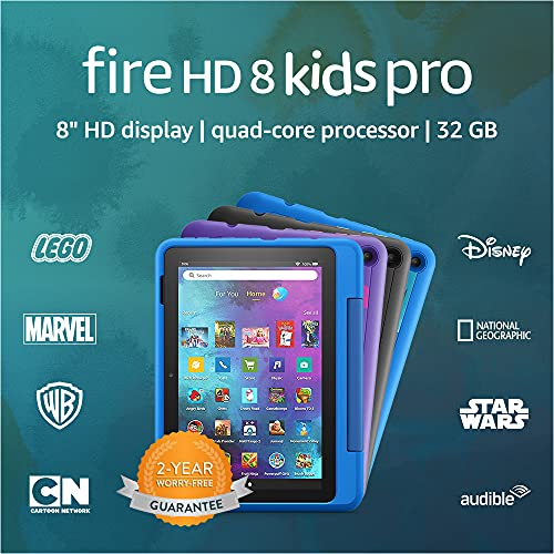 Introducing Fire HD 8 Kids Pro tablet, 8' HD, ages 6–12, 32 GB, Intergalactic