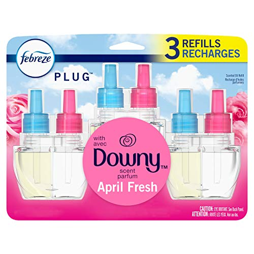 Febreze Plug in Air Freshener and Odor Eliminator, Scented Oil Refill, Downy April Fresh, 3 Count