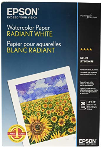 Epson Watercolor Paper Radiant, White, 13 x 19 Inches, 20 Sheets (S041351)
