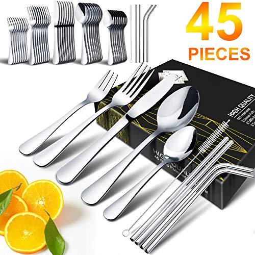 Silverware Set, HOBO 45-Piece Silverware Set,Stainless Steel Flatware Silverware Cutlery Set, Include Knife/Fork/Spoon/ Straws/Straws Brush, Mirror Polished, Service for 8