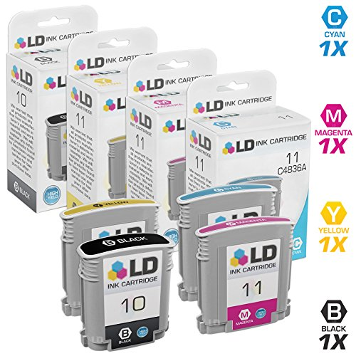 LD Remanufactured Ink Cartridge Replacement for HP 10 & HP 11 High Yield (Black, Cyan, Magenta, Yellow, 4-Pack)