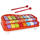 Toysery 2 in 1 Piano Xylophone Kids Toy, Educational Toddler Musical Instruments ToySet, 8 Multicolored Key Scales in Crisp and Clear Tones with Mallets Music Cards and Songbook for Babies Boys Girls