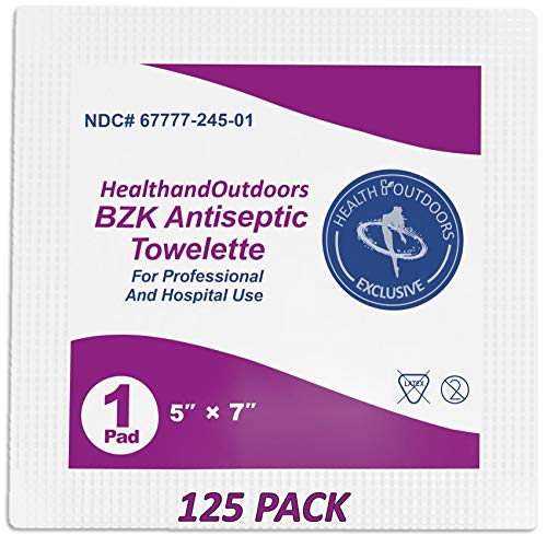 BZK Antiseptic Moist Towelette 5' x 7' Wipe (125 Count) Hand & Body Cleansing Wet Napkins Alcohol-Free Individually Wrapped Towels