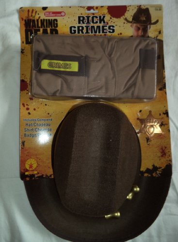 The Walking Dead Rick Grimes Accessory Kit--Hat-Shirt-Badge--Costume for young boys
