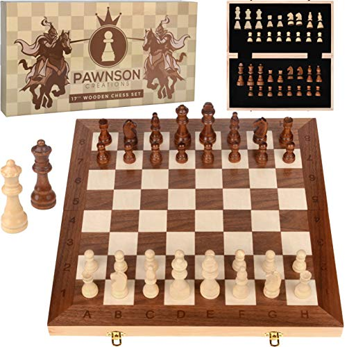 Wooden Chess Set for Kids and Adults – 17 in Staunton Chess Set - Large Folding Chess Board Game Sets - Storage for Pieces   Wood Pawns - Unique E-Book for Beginner - 2 Extra Queens