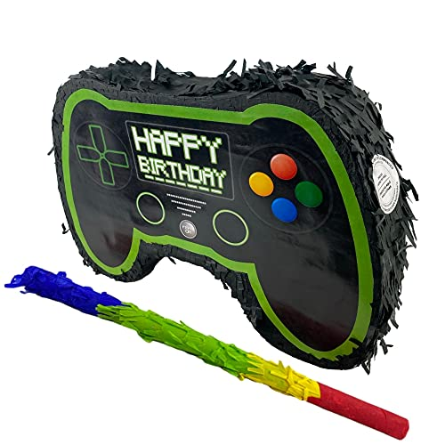 Gaming Controller small-scale double faced Pinata perfect for Video Game themed Birthday Party, Photoprop for streaming, Centerpiece and Decoration. Easy Fill with Assorted Color Stick for Piñata Game