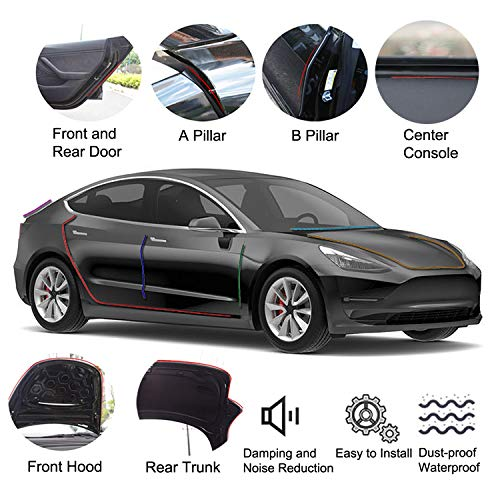MECHCOS Compatible Fit for Tesla Model 3 Door Seal Kit Soundproof Rubber Weather Seal Strip Wind Noise Reduction Kit Accessories, 11 Pcs