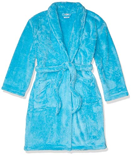 BC BARE COTTON Kids Microfiber Fleece Shawl Robe - Girls - Turquoise - Large