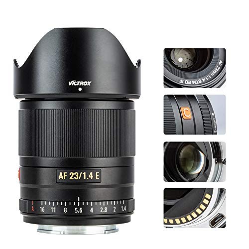 VILTROX 23mm f/1.4 Auto Focus E-Mount Lens for Sony,Wide Angle Large Aperture APS-C Lens for Sony E-Mount Cameras A6500 A6300 A6100 A9 A7RⅣ A7RⅢ A7Ⅲ A7RⅡ A7Ⅱ A7S A7R