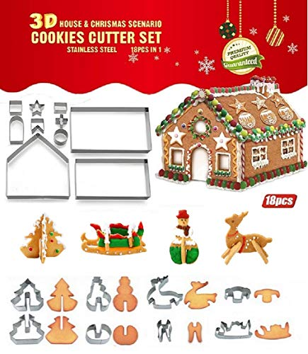 Joinor 18PCS/Set DIY Stainless Steel Christmas Series Cookie Cutter 3D Gingerbread house Biscuit Mold Fondant Cake Decorating Tools