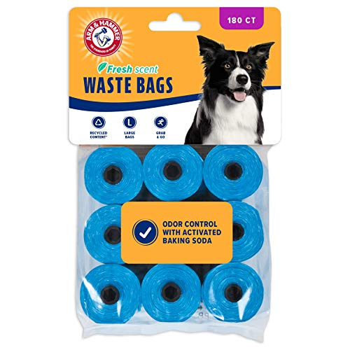 Arm & Hammer Easy-Tear Disposable Dog Waste Bag Refills Blue Large Bags Recycled Content 180 Count