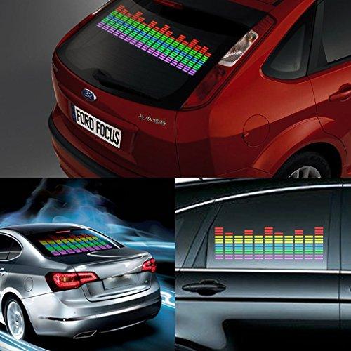 DIYAH Auto Sound Music Beat Activated Car Stickers Equalizer Glow LED Light Audio Voice Rhythm Lamp 90cm X 25cm / 3FT X 5/6FT (Multi Color)