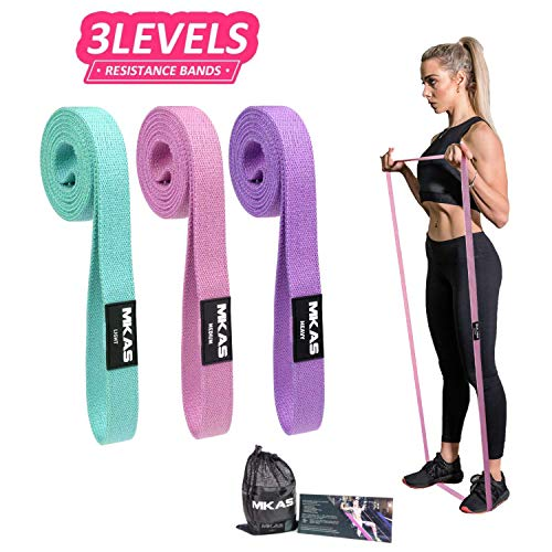 MKAS 3 Pack Long Resistance Bands Set Fabric for Women Elastic Fitness Body Bands Heavy Duty Stretch Exercise Pull Up Mobility Assistance Workout Resistance Bands Set for Home Gym