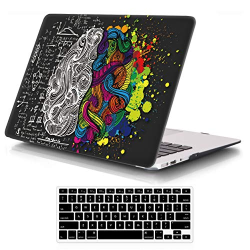 iCasso MacBook Air 13 inch Rubber Coated Soft Touch Hard Shell Protective Case Cover for MacBook Air 13 Inch Model A1369/A1466 with Keyboard Cover - Brain