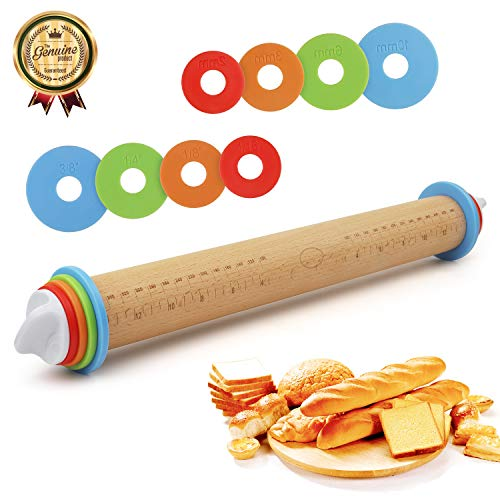 Professional Rolling Pin for Baking Baker Roller is Made with Detachable Colorful Classic Rings According to Different Dough Thicknesses Design Best for Fondant, Pie Crust, Cookie, Pasta, Pizza Dough