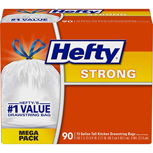 Hefty Strong Tall Kitchen Trash Bags, Unscented, 90 Bags, 13 gallon
