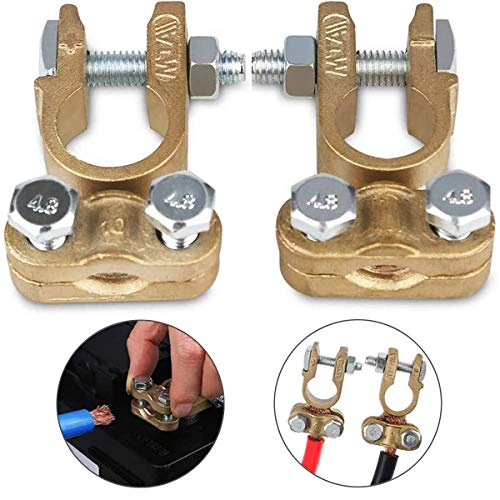 Heavy Duty Battery Quick Disconnect Terminals, Battery Quick Release Connectors, Positive & Negative Copper Battery Cable Terminals Connectors Round Post Clamp Truck Van Marine Boat(1 Pair)