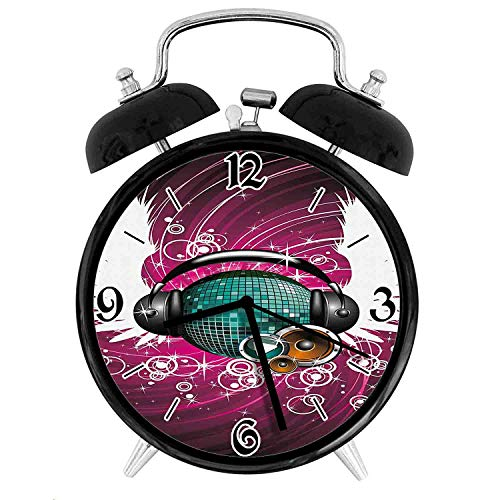 one-six-one Disco Ball with Headphones and Angel Wings Vibrant Swirl with CirclesDesk Clock Home Office Unique Decorative Alarm Ring Clock 4in