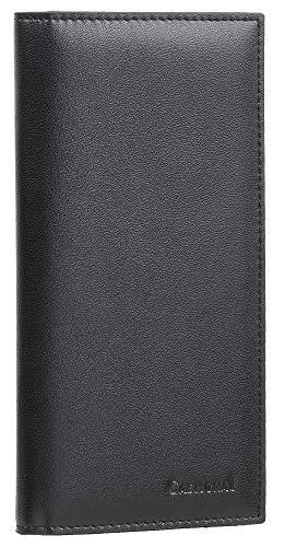 Casmonal Genuine Leather Checkbook Cover For Men & Women Checkbook Holder Wallet RFID Blocking(Black)