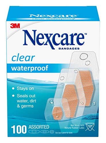 Nexcare Waterproof Bandages Family Pack Assorted Sizes, Tan 100 Count (Pack of 1)
