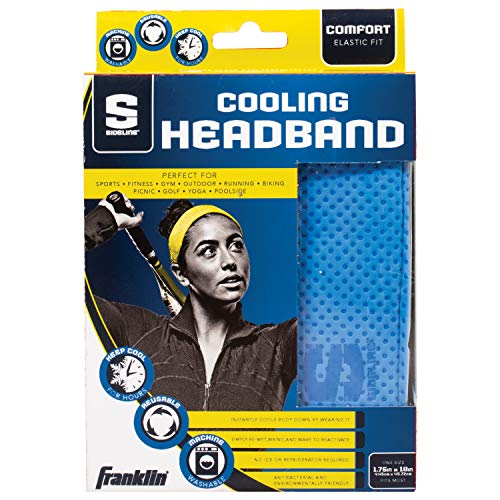 Franklin Sports Cooling Headband - Sports - Sports Headband - Sideline Cooling Headband - Snap Towel Cooling - Reusable - Stay Cool for Hours - Blue