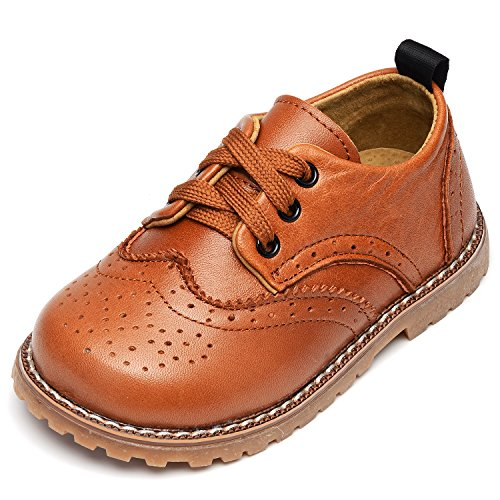 UBELLA Toddler Boys Girls Breathable Hollow Leather Lace Up Flats Oxfords Dress Shoes Yellow
