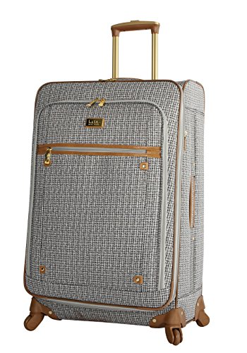 Nicole Miller Designer Luggage Collection - Expandable 24 Inch Softside Bag - Durable Mid-sized Lightweight Checked Suitcase with 4-Rolling Spinner Wheels (Rosalie Black/White)