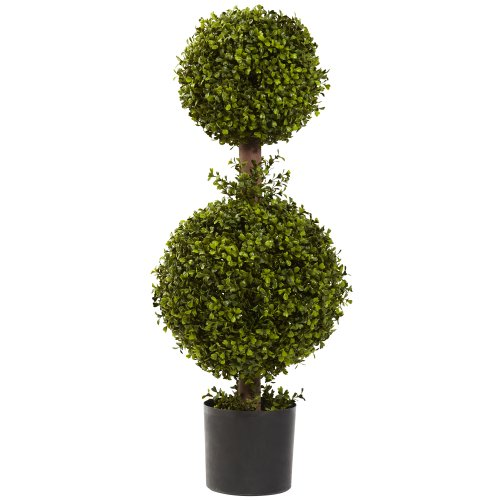 Nearly Natural 5920 Double Boxwood Topiary, 35-Inch, Green,12' x 12' x 35'