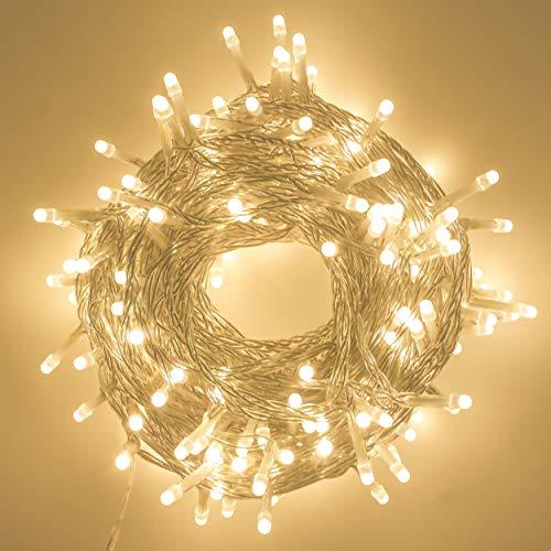 LED String Lights, Decorative Mini LED Lights Indoor and Outdoor, Plug in, Timer, Soft Warm White, 200 LED, 69 FT Long