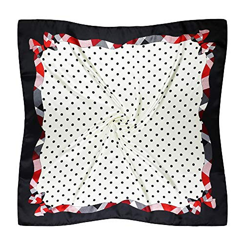 Vabovin 35' Women's Silk Like Scarf Large Square Satin Headscarf Fashion Pattern Hair Scarves and Wraps (Black White Dots)