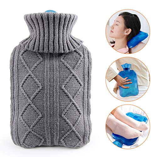 Hot Water Bottle with Cover | KKTICK Hot Water Bag for Kids | Thicker PVC Water Injection Warm Bottle 1L | Warm Body Pain Relief & Daily Use